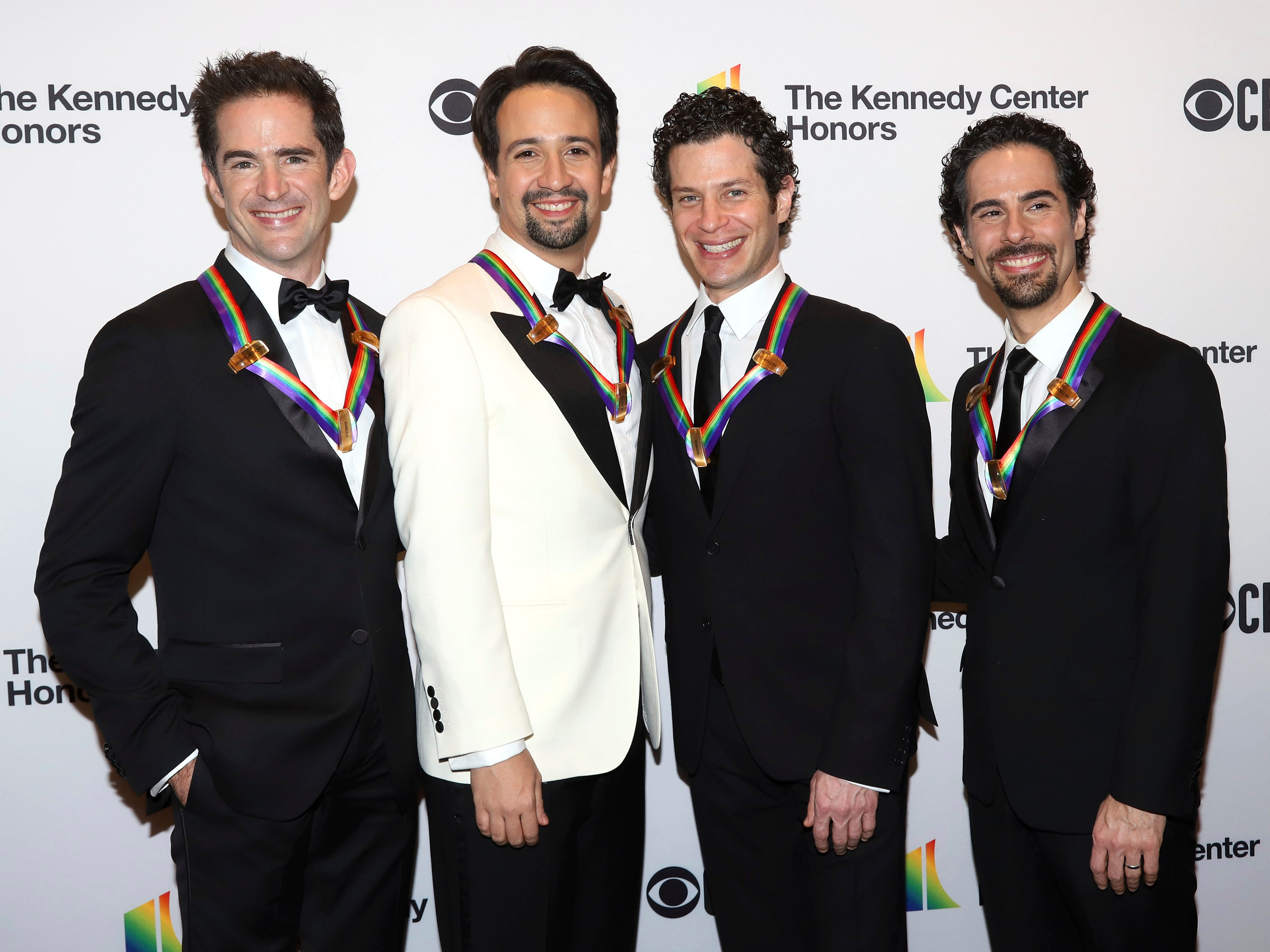 "2018 Kennedy Center honorees, co-creators of ""Hamilton,"" from left, Andy Blankenbuehler, Lin-Manuel Miranda, Thomas Kail and Alex Lacamoire attend the 41st Annual Kennedy Center Honors at The Kennedy Center on Sunday, Dec. 2, 2018, in Washington. (Photo by Greg Allen/Invision/AP) ORG XMIT: NYGA104"