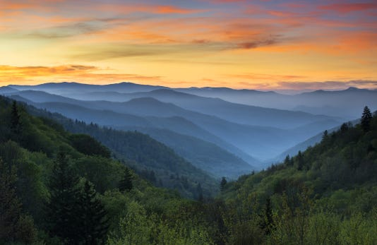 Sunrise Landscape Great Smoky Mountains National Park Gatlinburg Tn
