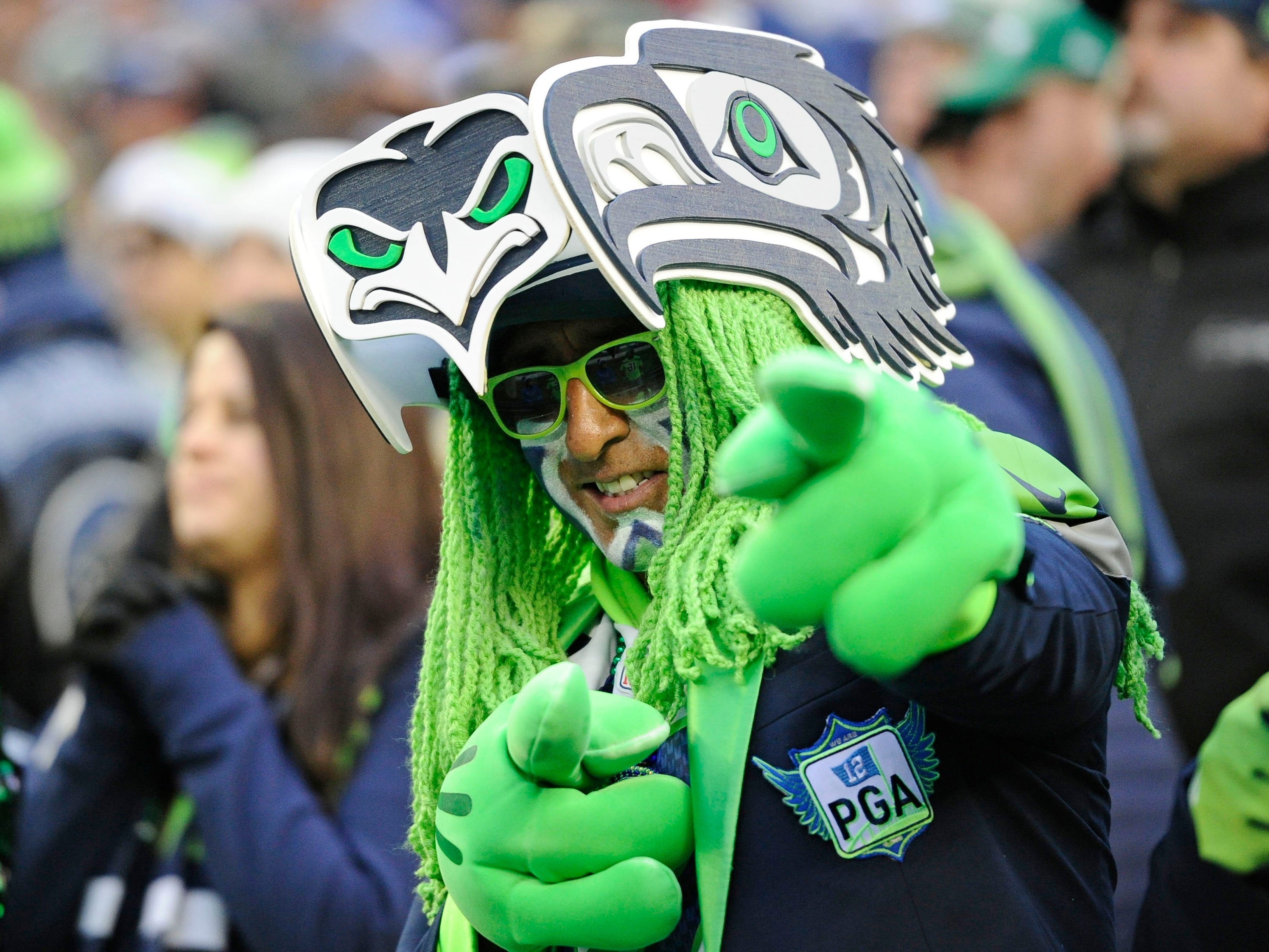 Seattle Seahawks fans looks on during a football game against the San Francisco 49ers in the second half at CenturyLink Field.