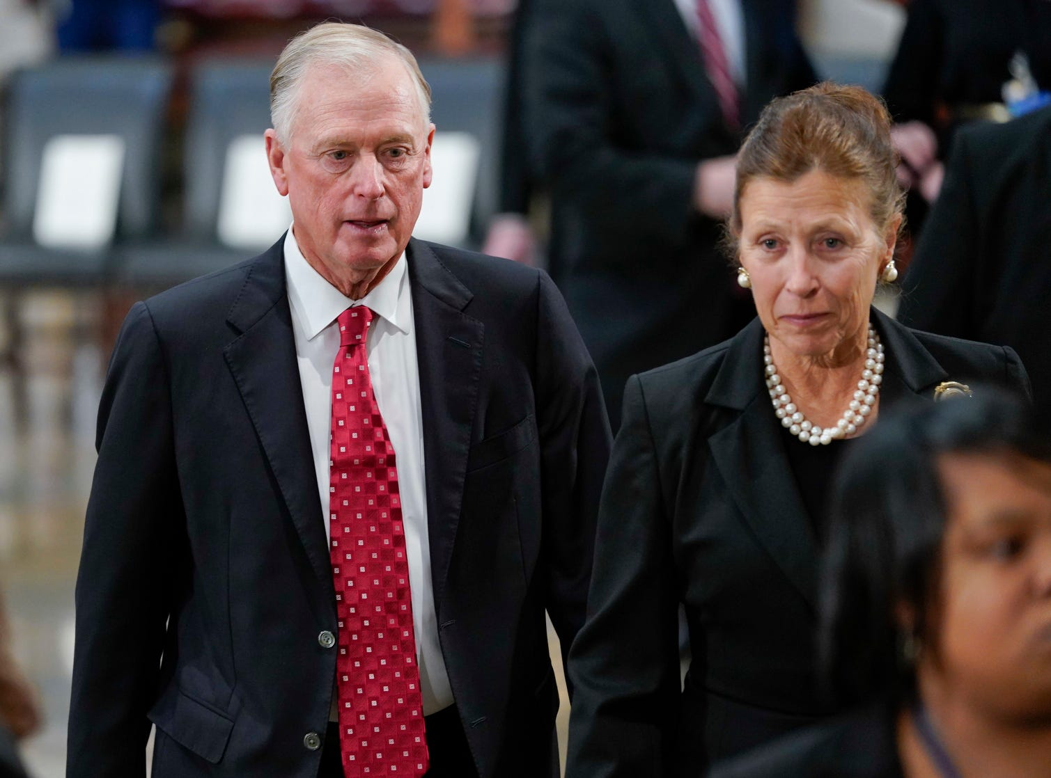 Former Vice President Dan Quayle and his wife Marilyn arrive at the Capitol in Washington to attend services of former President George H.W. Bush, Monday.