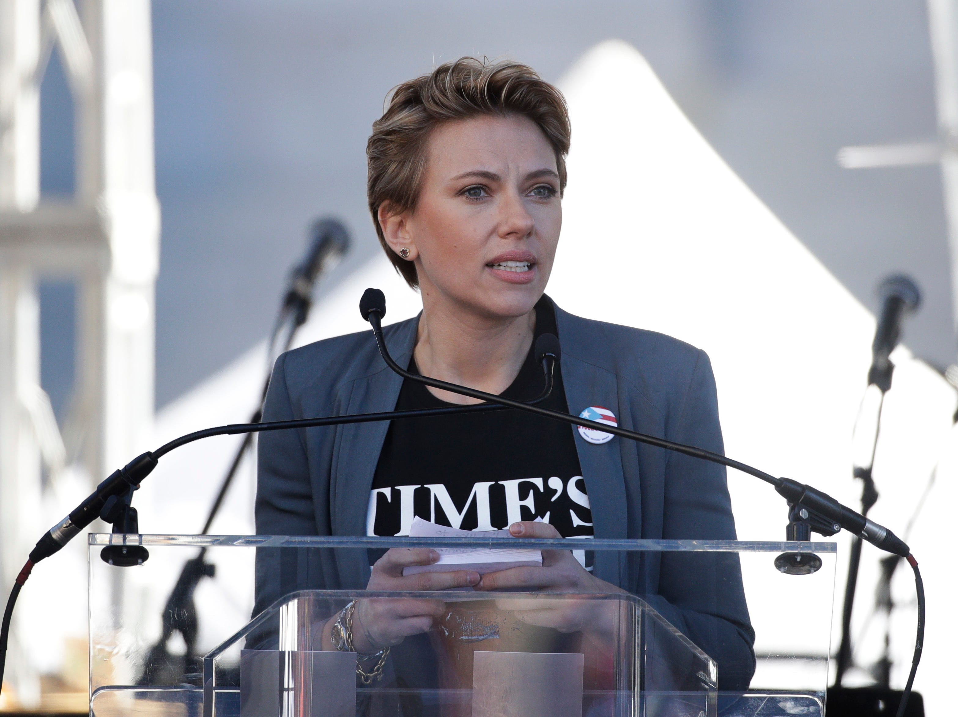 Jan. 20: Scarlett Johansson speaks at the Los Angeles Women's March against sexual violence and the policies of the Trump administration.