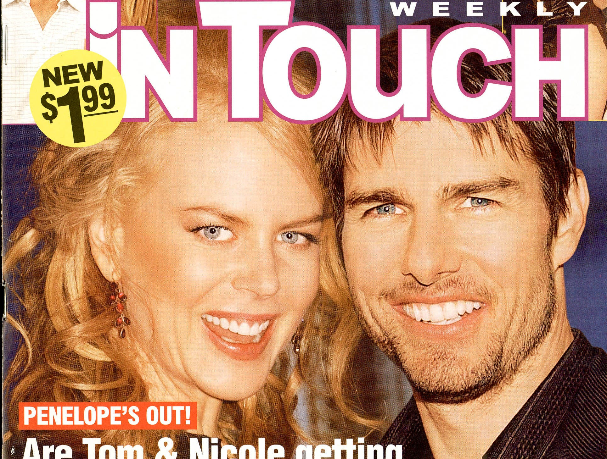 "This is the April 12, 2004 issue of ""In Touch"" magazine featuring a composite cover of Tom Cruise and Nicole Kidman. --- DATE TAKEN: rcd 04/04  No Byline  NoCredit        HO      - handout   ORG XMIT: ZX18120"