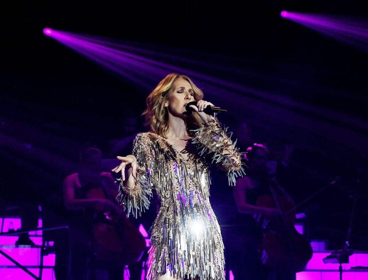 Celine Dion performs during her show at The Colosseum at Caesars Palace in Las Vegas.