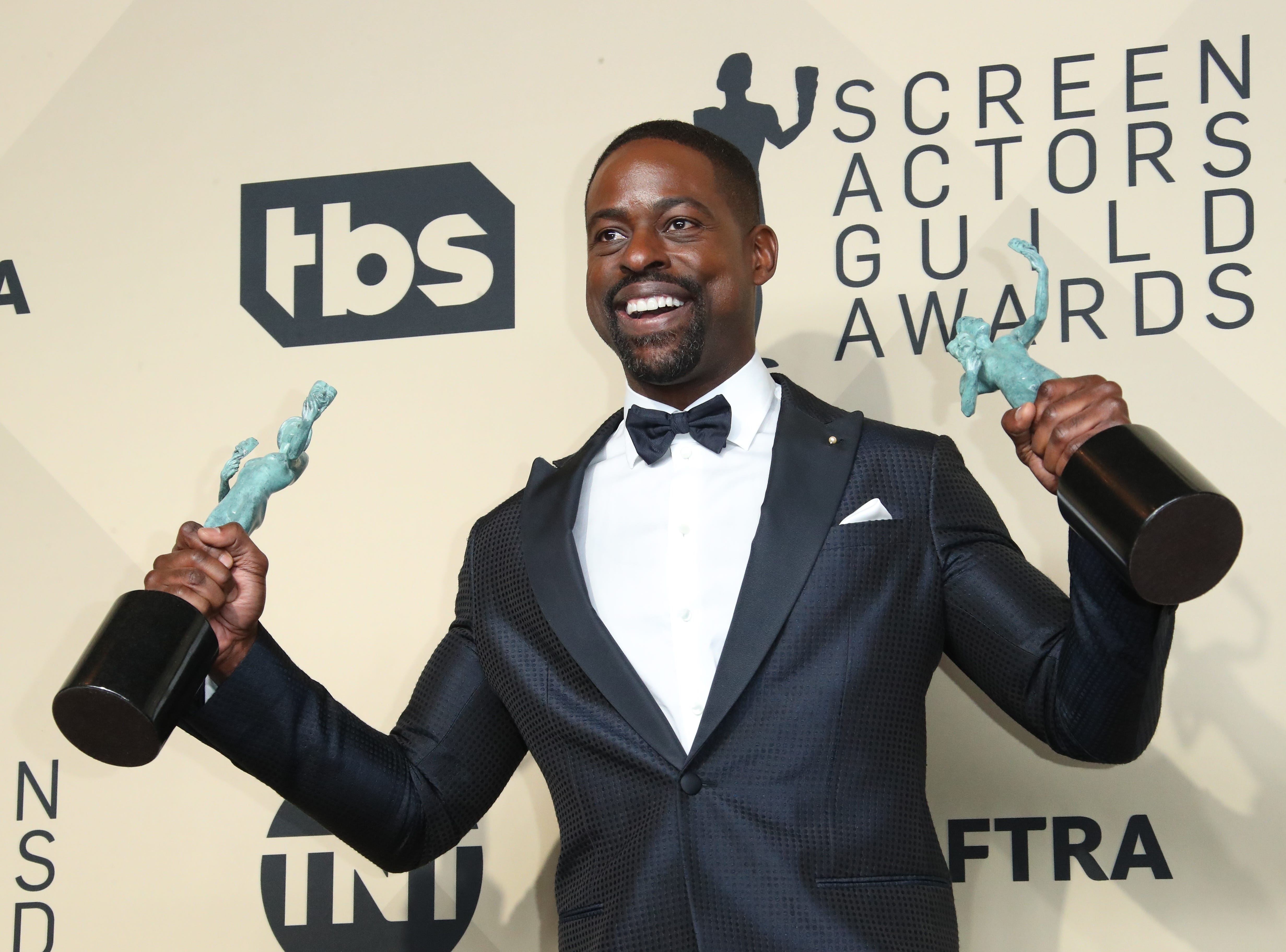 Jan. 21: Sterling K. Brown shows off twin SAG Awards on the red carpet.
