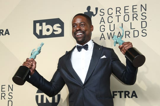 "Sterling K. Brown on the red carpet at last year's SAG Awards. The ""This is Us"" cast is nominated for best ensemble in a drama, and Brown is nominated for Outstanding Performance by a Male Actor in a Drama Series."