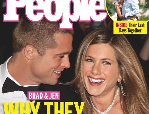 Cover of People Magazine issue announcing the breakup of Brad Pitt and Jennifer Aniston. --- DATE TAKEN: 1/9/2005     People        HO      - handout   ORG XMIT: ZX30314