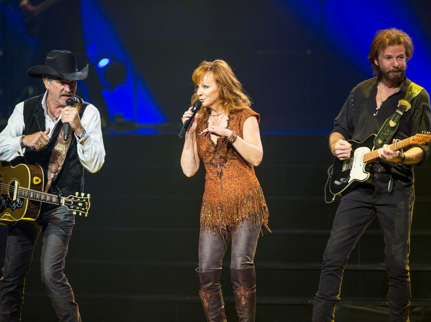 Country music stars Reba McEntire and Brooks & Dunn perform at The Colosseum at  Caesars Palace in Las Vegas. The shows continue through December 2018.