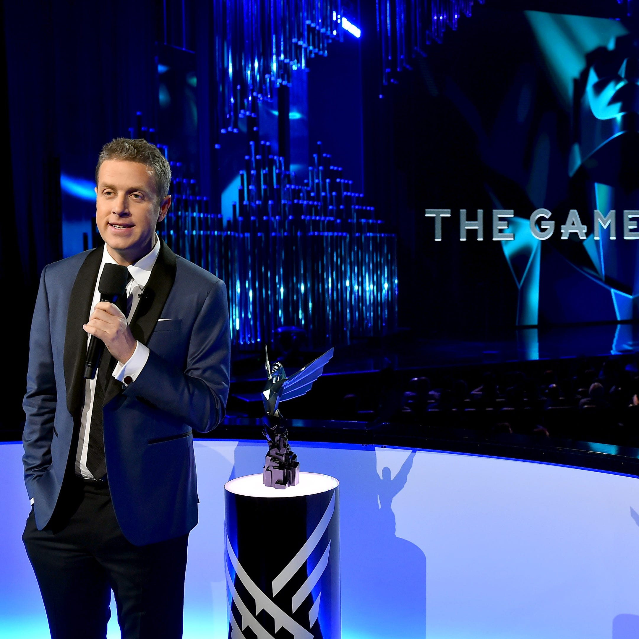 Host Geoff Keighley onstage at the 2017 Game Awards at the Microsoft Theater on December 7, 2017 in Los Angeles, California.