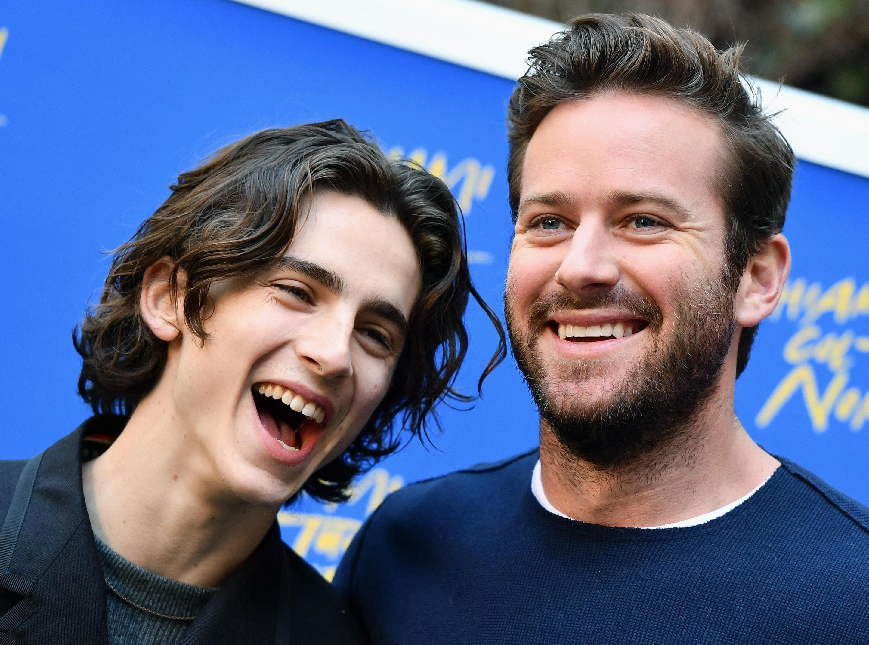 """Jan. 24: """"Call Me By Your Name"""" co-stars Timothée Chalamet and Armie Hammer smile during a photoshoot for the film in Rome, Italy."""