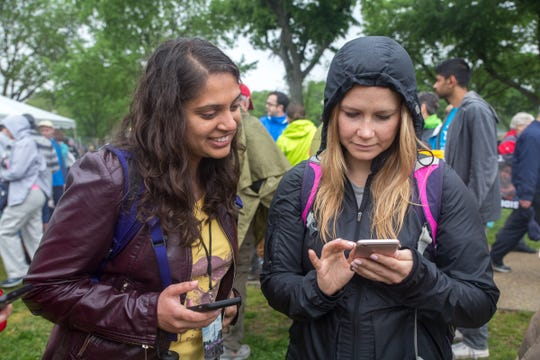 Elizabeth Sorrell (right) is focused on shopping green this holiday season. Here she is at a March For Science on April 22nd 2017, Washington DC, with fellow Audubon colleague Preeti Desai.