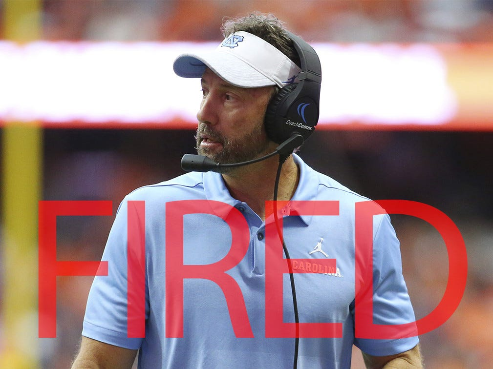 Larry Fedora was fired by North Carolina following a 2-9 campaign. He went 45-43 in seven years leading the Tar Heels.