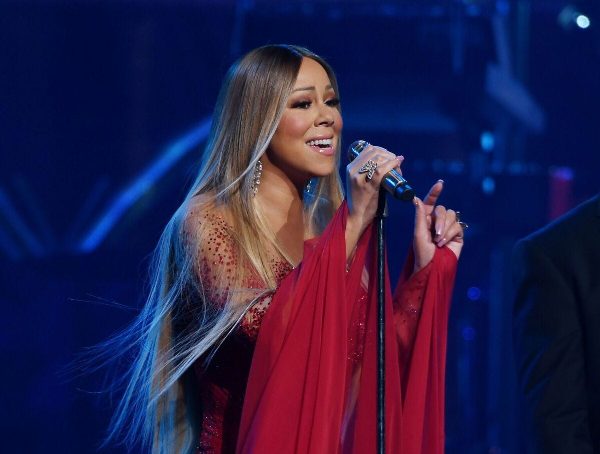 Mariah Carey performs during a show at The Colosseum at Caesars Palace.