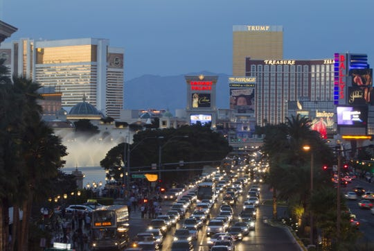A view of the Las Vegas Strip looking northbound from Harmon Avenue in Las Vegas.