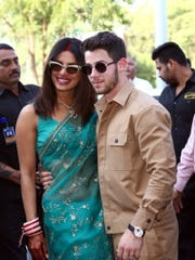 Just married!  Priyanka Chopra and Nick Jonas are seen on Monday following their wedding weekend.