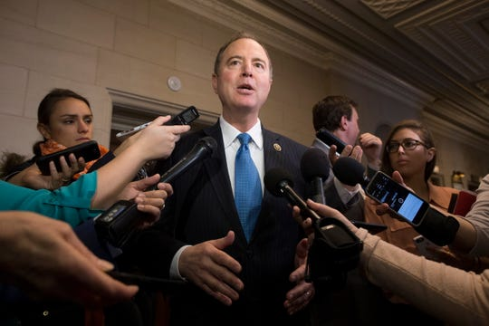 Rep. Adam Schiff, D-Calif., speaks to reporters on Capitol Hill in Washington, on Nov. 29,  2018.