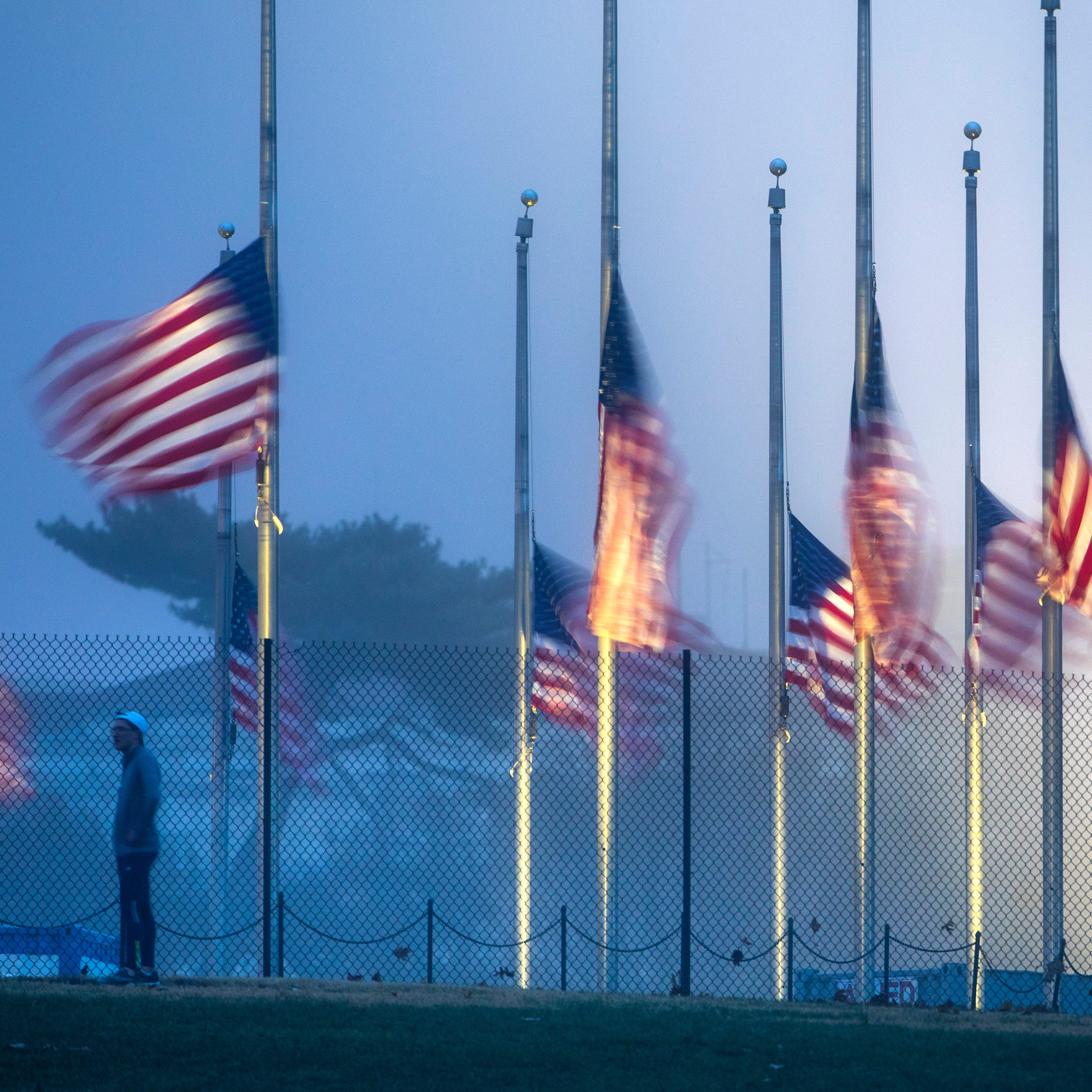 Flags on the National Mall fly at half-staff to honor the passing of former President George H.W. Bush in Washington, Dec. 1, 2018.