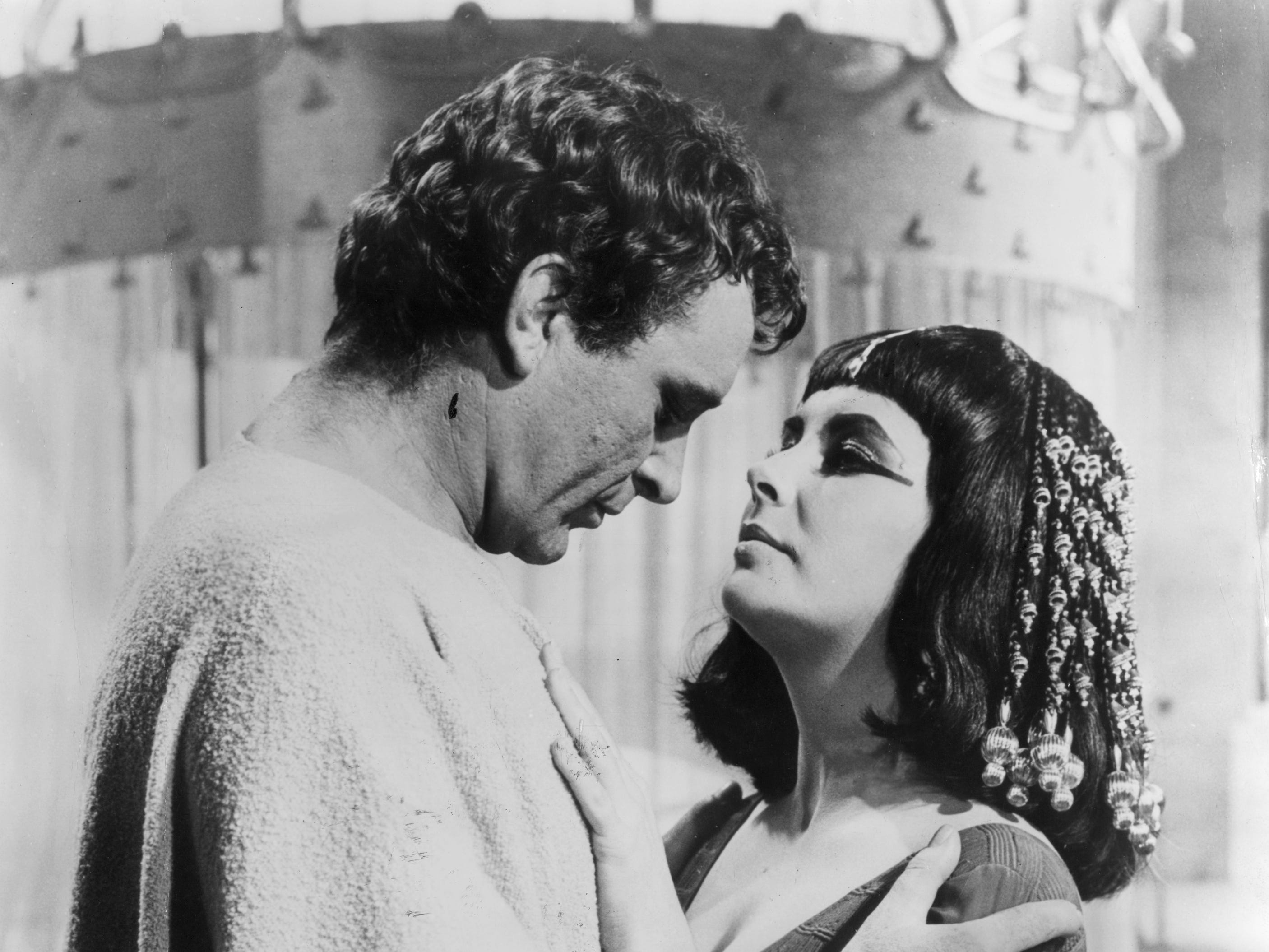 FILE  On June 12th the film Cleopatra will celebrate its 50th anniversary the 1963 film still remains one of the most extravagant and expensive movies ever made costing $42 million. Please visit link to view more archival imagery.   http://www.gettyimages.co.uk/Search/Search.aspx?EventId=167877641&EditorialProduct=Archival&esource=maplinARC_uki_13jun 1962:  Welsh actor Richard Burton (1925 - 1984) with his co-star and future wife, Elizabeth Taylor in the epic drama 'Cleopatra'.  (Photo by Hulton Archive/Getty Images) ORG XMIT: 167877641 ORIG FILE ID: 3164443