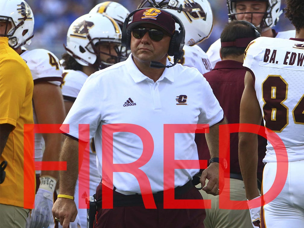 John Bonamego was fired by Central Michigan following a 1-11 season. He went 22-29 in four seasons leading the Chippewas.