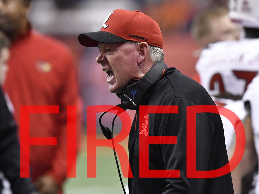 Bobby Petrino was fired midseason by Louisville. He was 36-26 in his second stint leading Cardinals, which started in 2014, but was let go after a 2-8 start this year.