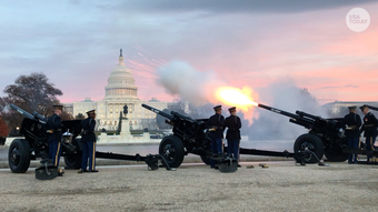 A 21-gun salute is fired outside the U.S. Capitol to honor President George H.W. Bush. The former president will lie in state in the U.S. Capitol Rotunda starting Monday.