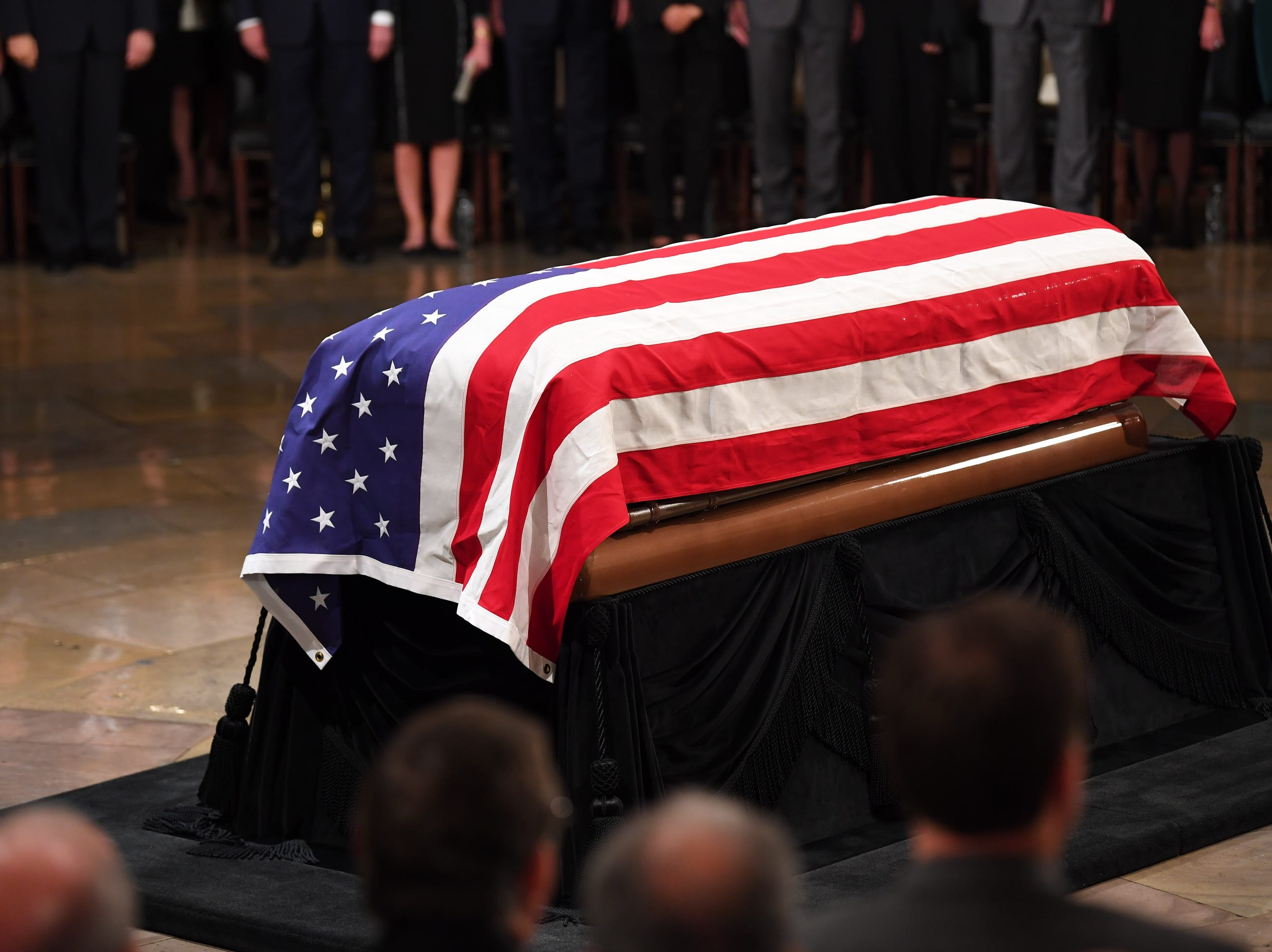 Former President George H.W. Bush lies in state at the U.S. Capitol Rotunda in Washington, Dec. 3, 2018.