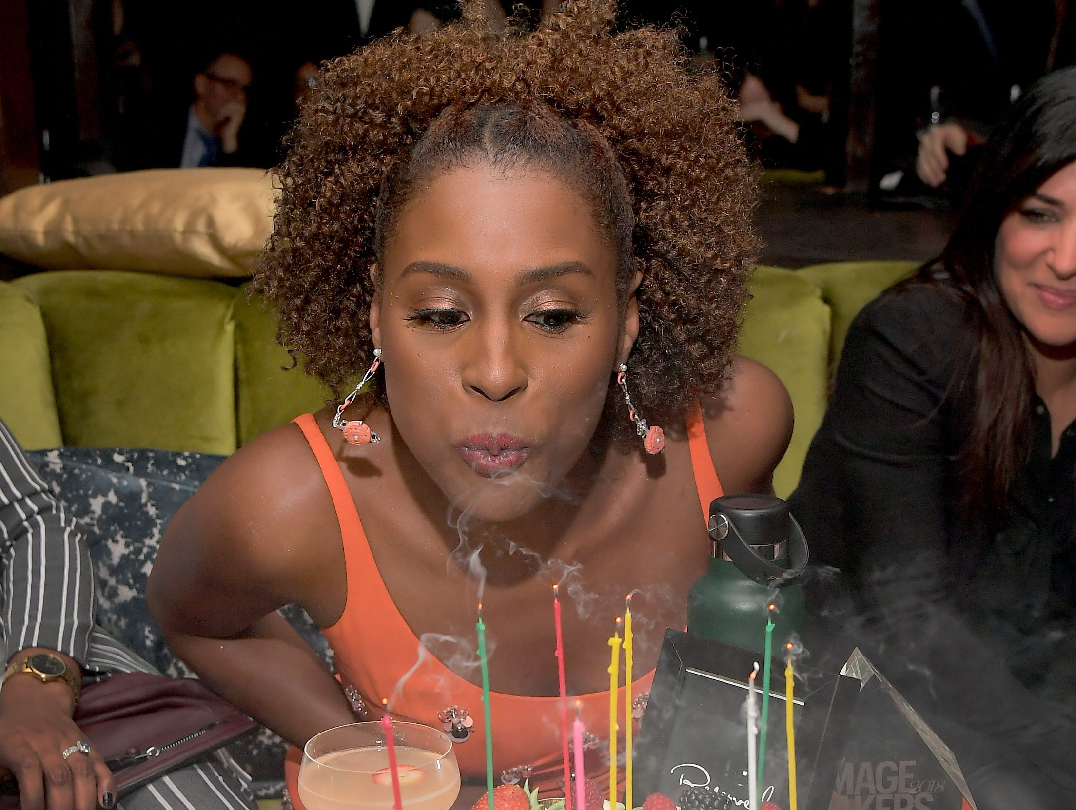 Jan. 11: Issa Rae blows out her birthday candles at Marie Claire's Image Makers Awards in West Hollywood, California.