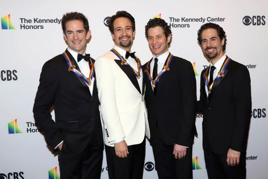 Kennedy Center winner 2018, from left Andy Blankenbuehler, Lin-Manuel Miranda, Thomas Kail and Alex Lacamoire.