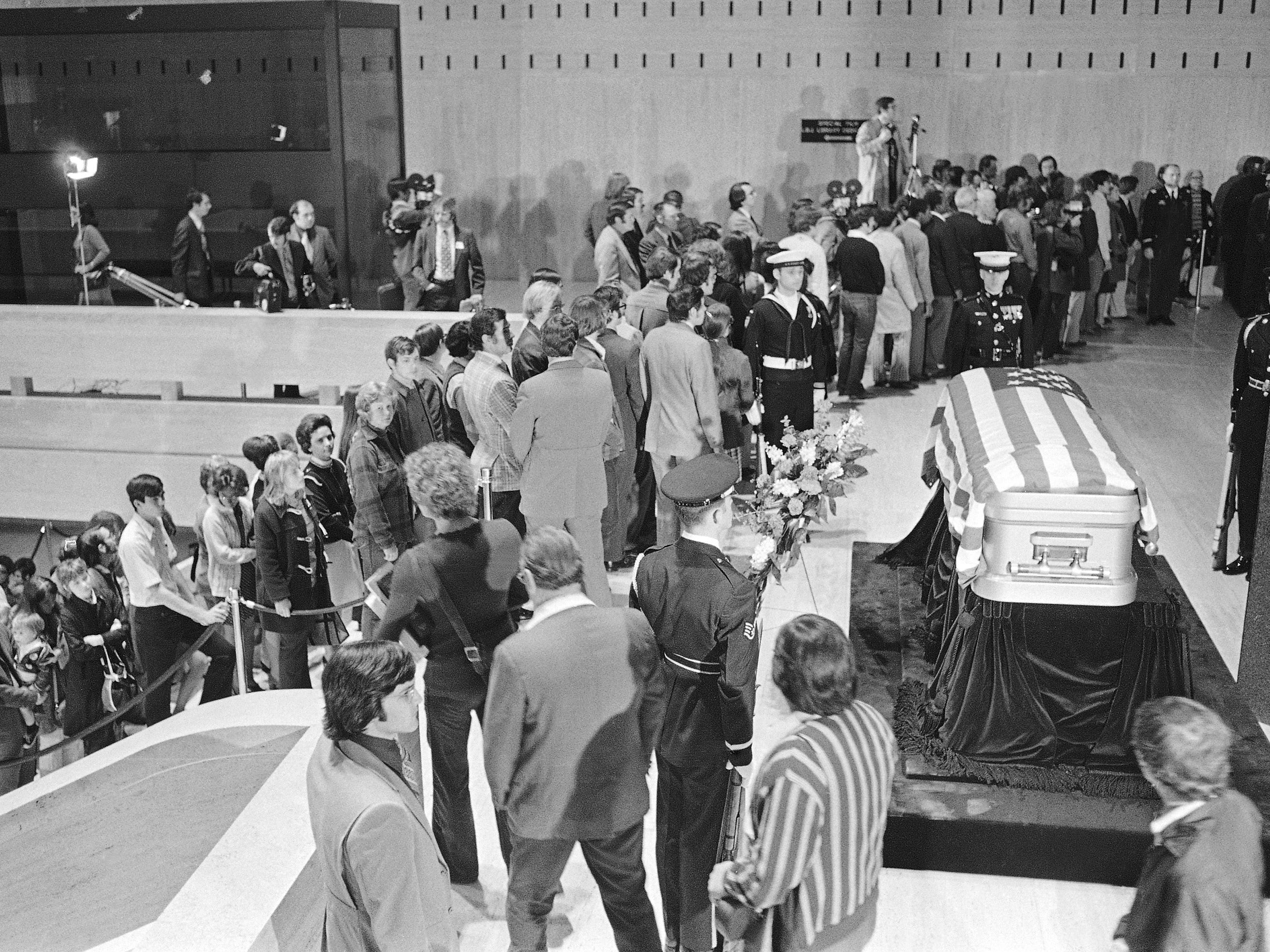 Crowds line the stairs and corridors as they pay respects to former President Lyndon B. Johnson whose body lies in state in the LBJ Library in Austin, Texas, on Jan. 23, 1973.