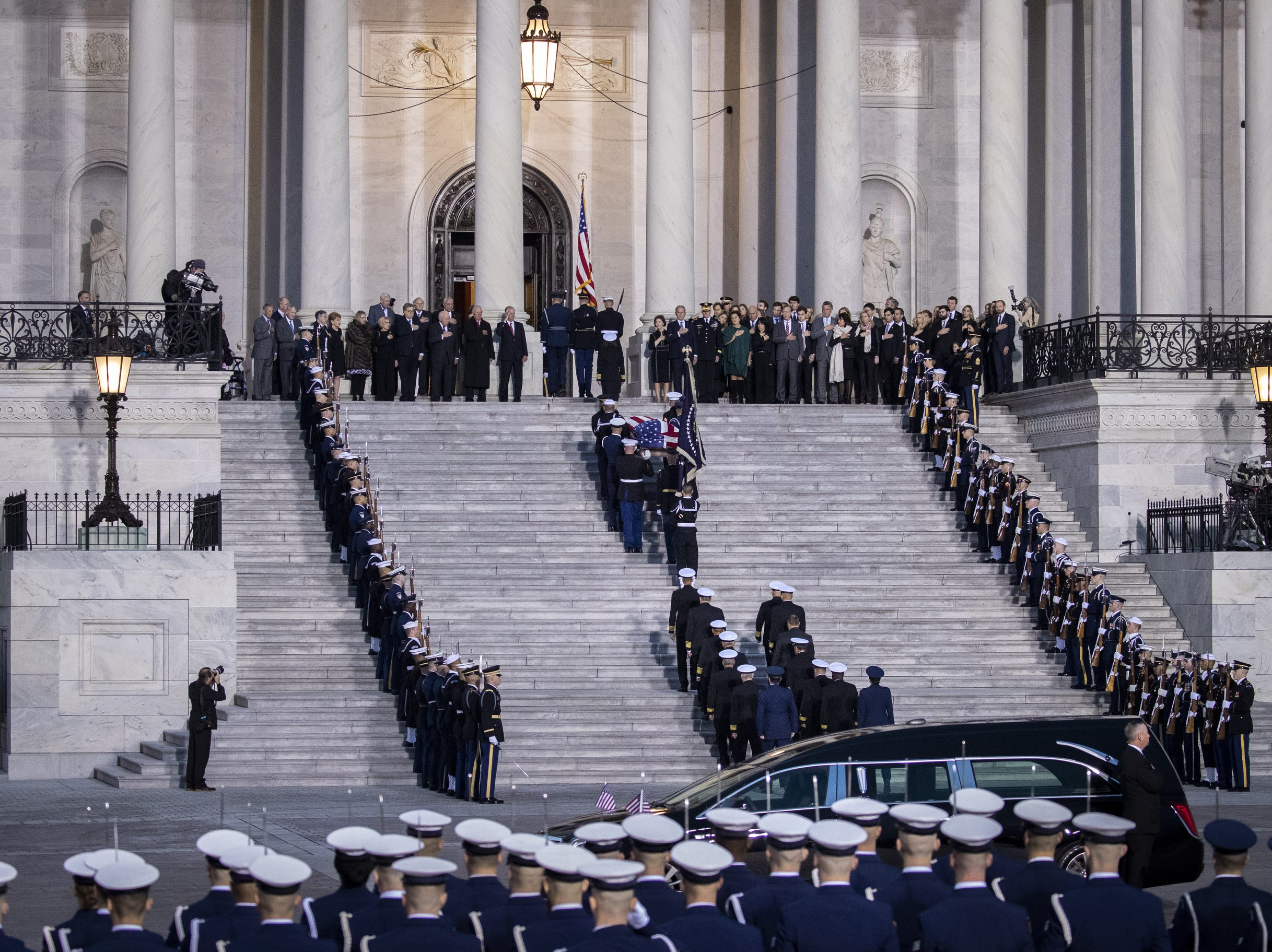 The casket of the late former President George H.W. Bush arrives at the U.S. Capitol, Dec. 3, 2018 in Washington, DC.