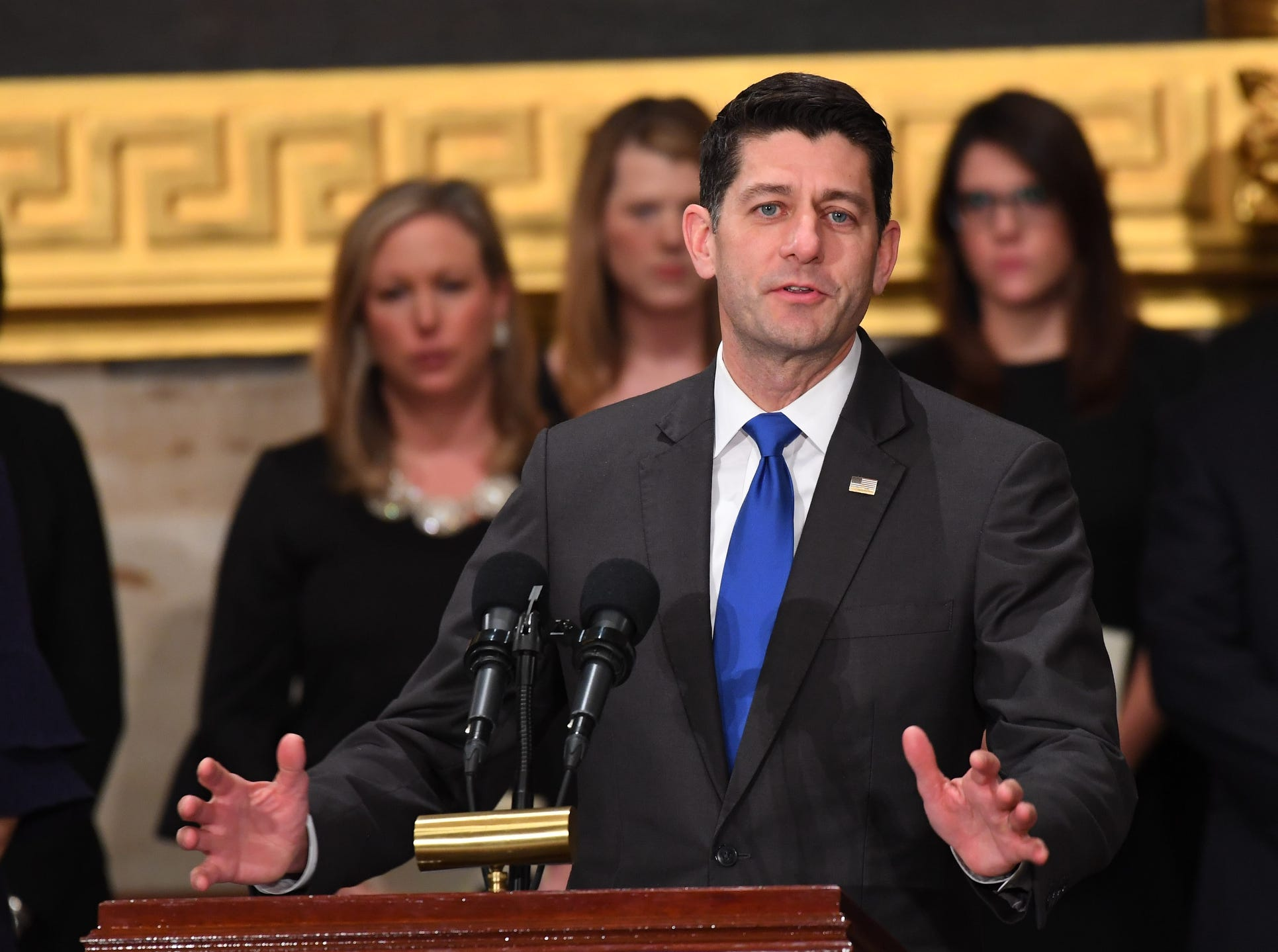 Speaker of the House Rep. Paul Ryan (R-WI) speaks at the ceremony honoring former President George H.W. Bush  at the U.S. Capitol Rotunda.