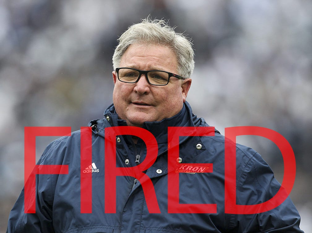 Terry Bowden was fired by Akron. He went 35-52 in seven seasons as head coach of the Zips.