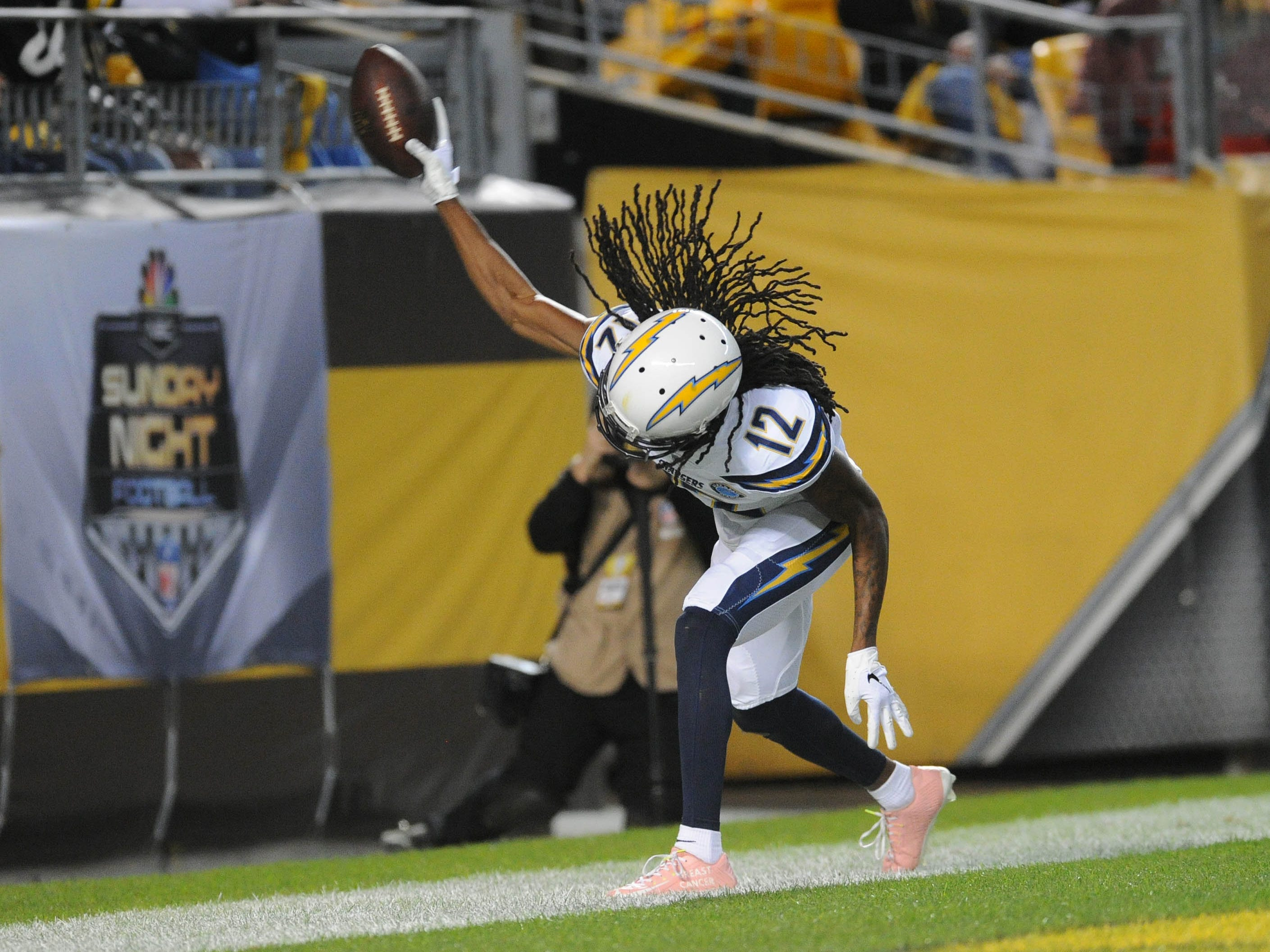 San Diego Chargers wide receiver Travis Benjamin celebrates a first quarter touchdown against the Pittsburgh Steelers at Heinz Field.