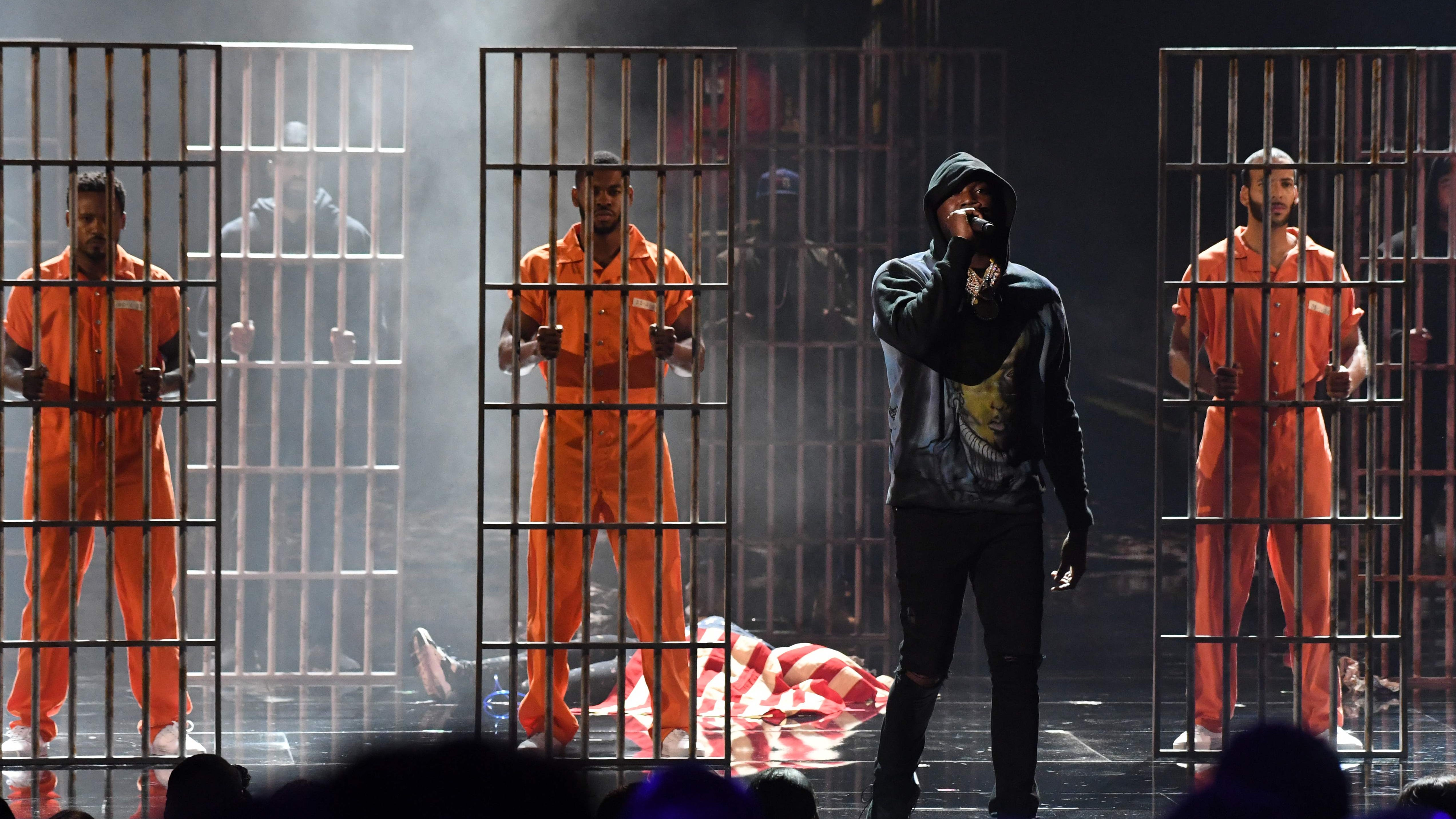 Meek Mill performs onstage during the BET Awards at Microsoft Theater in Los Angeles on June 24, 2018.