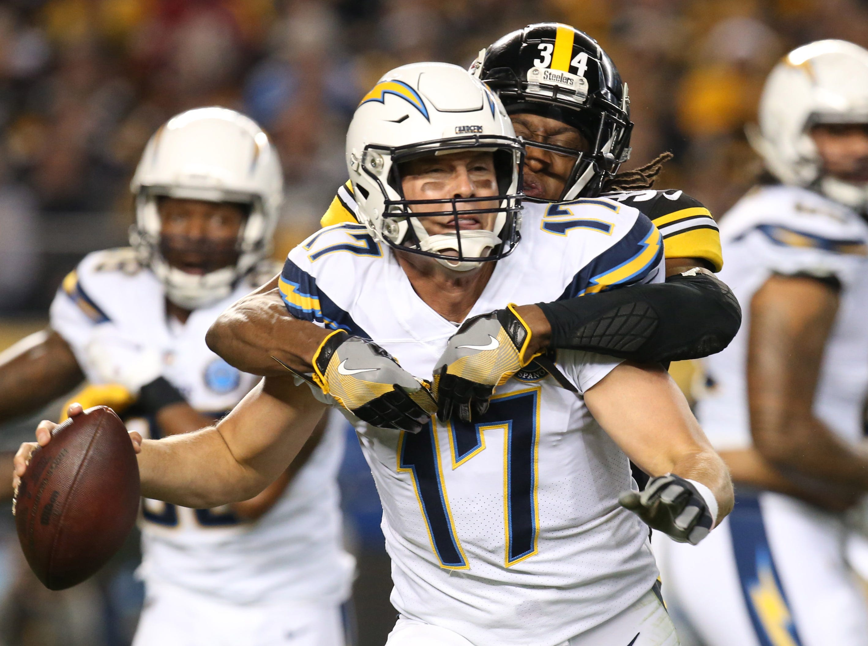 Chargers quarterback Philip Rivers  is sacked by Steelers strong safety Terrell Edmunds during the first quarter.
