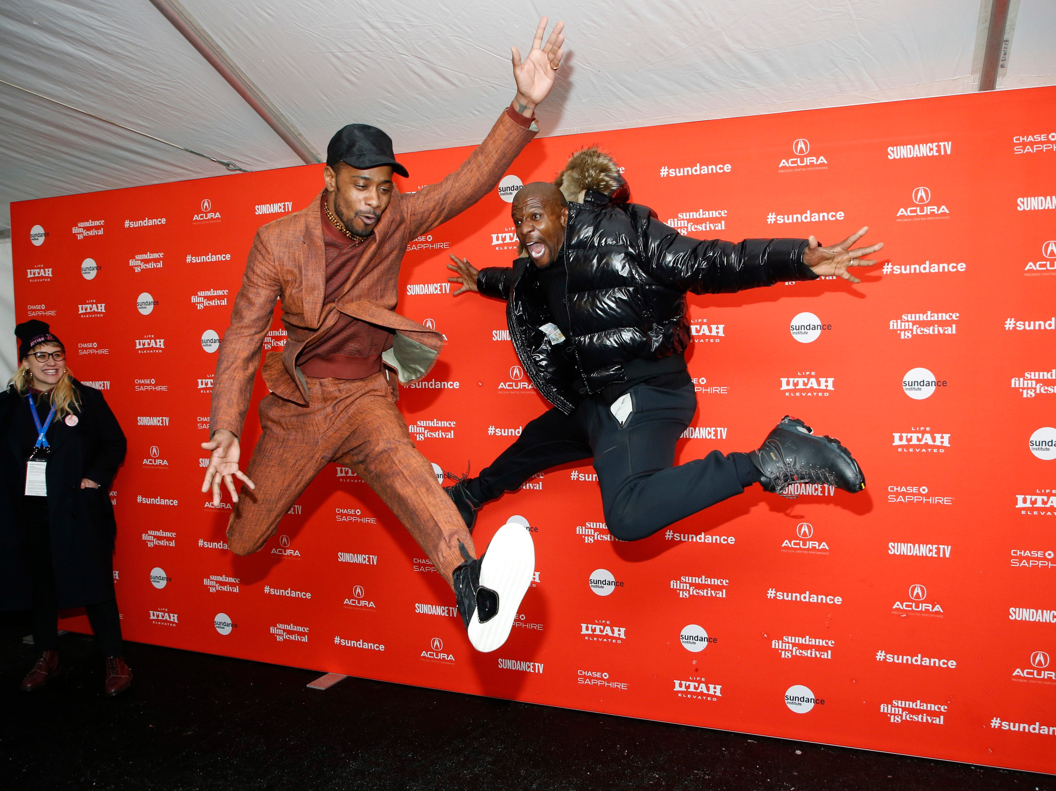 """Jan. 20: At the Sundance Film Festival premiere of """"Sorry to Bother You,""""  Lakeith Stanfield, left, joined Terry Crews for the """"Brooklyn Nine-Nine"""" star's trademark red-carpet move: jumping in the air."""