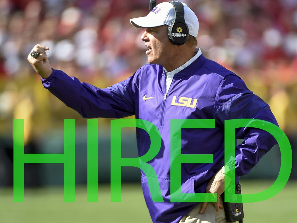 Les Miles was hired as head coach at Kansas. Miles went 142-55 over 16 seasons between LSU and Oklahoma State, including winning the 2007 national title with the Tigers.