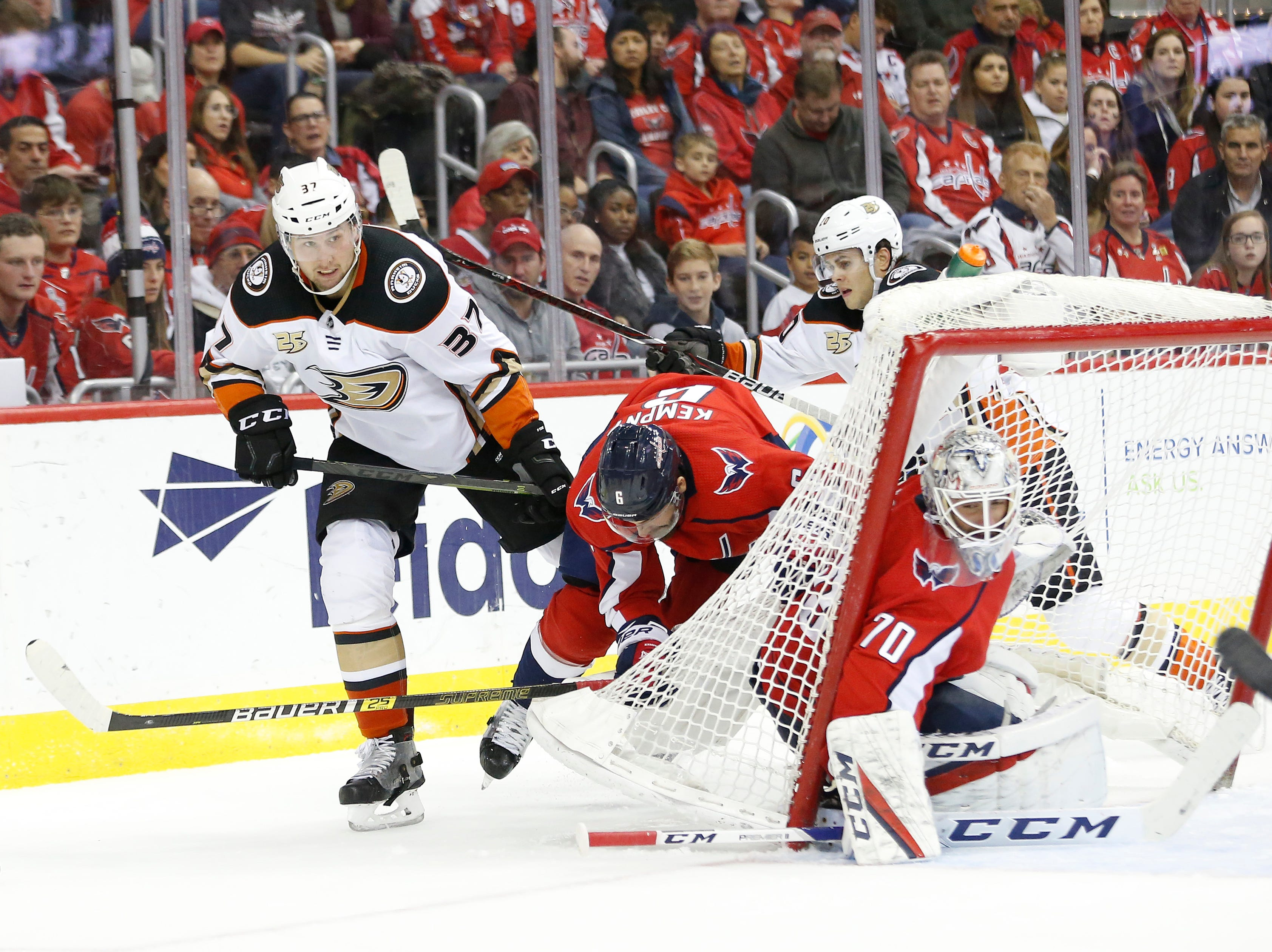 Dec. 2: Anaheim Ducks left wing Nick Ritchie (37) checks Washington Capitals defenseman Michal Kempny (6) into the net of Capitals goaltender Braden Holtby (70) in the second period at Capital One Arena.
