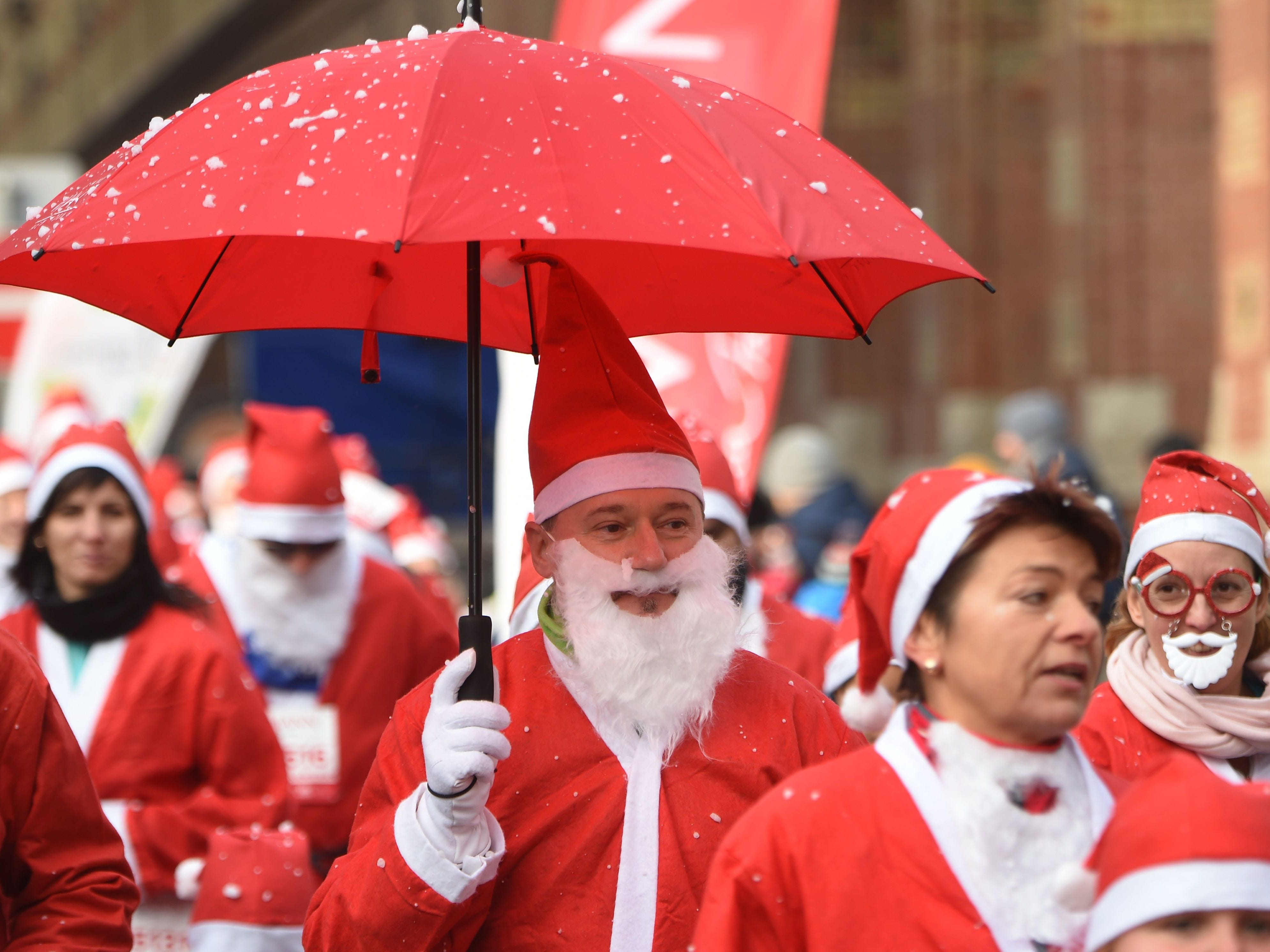 Participants dressed as Santa Claus take part in a charity run for poor children on Dec. 2, 2018 in Budapest, Hungary.