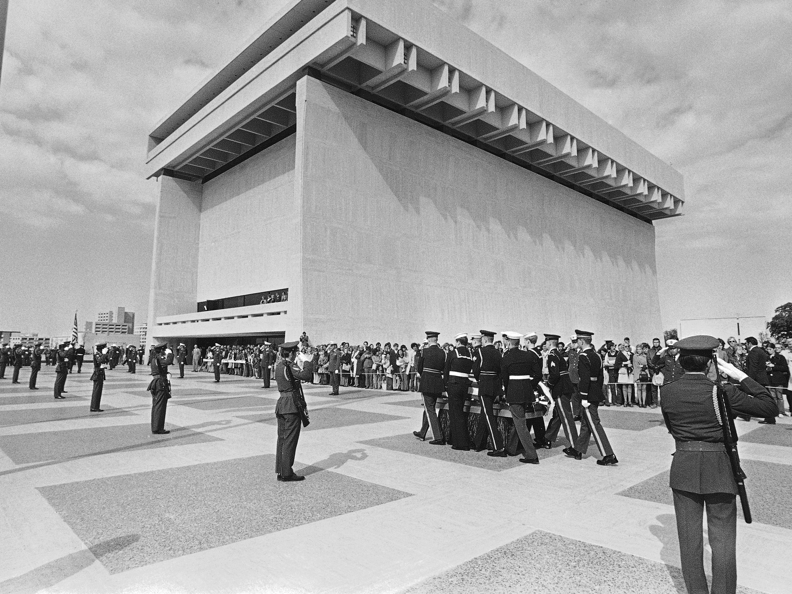 A military honor guard carries the casket of former President Lyndon B. Johnson toward the LBJ Library on the University of Texas campus in Austin, Texas on Jan. 23, 1973.
