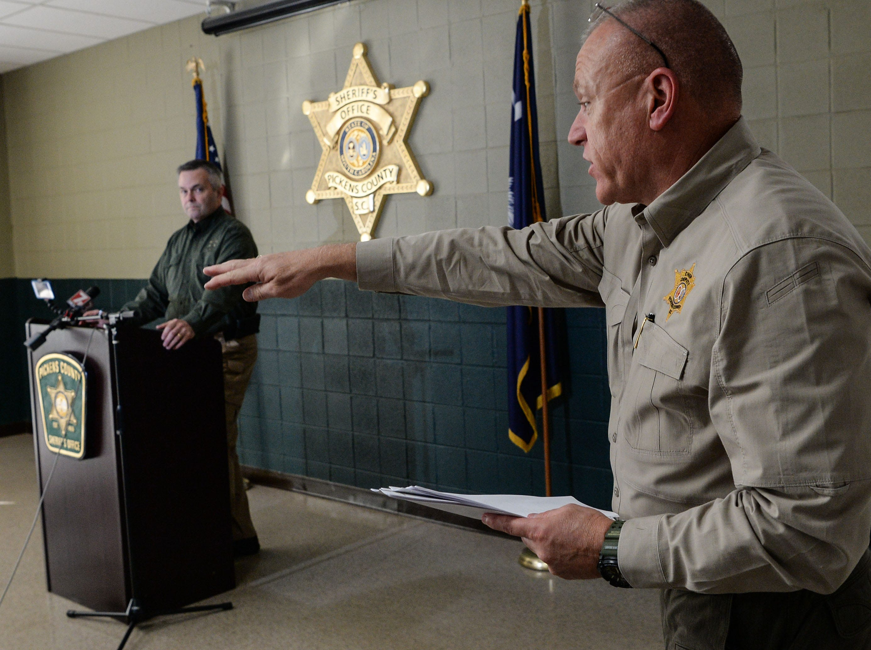 Pickens County Sheriff Office Chief Deputy Creed Hashe explains a detail between Sheriff Rick Clark speaking to media after two inmates escaped from the Pickens County Detention Center early Tuesday morning.
