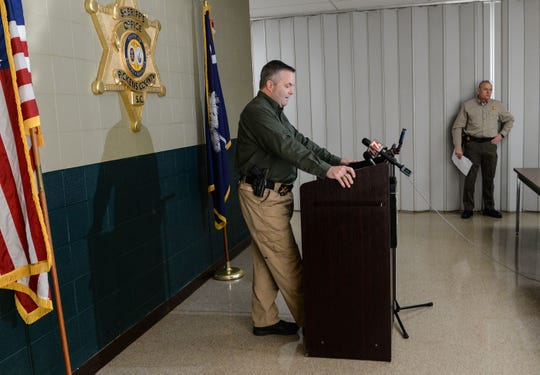 Pickens County Sheriff Rick Clark speaks to media about two inmates who escaped from the Pickens County Prison early Tuesday morning.