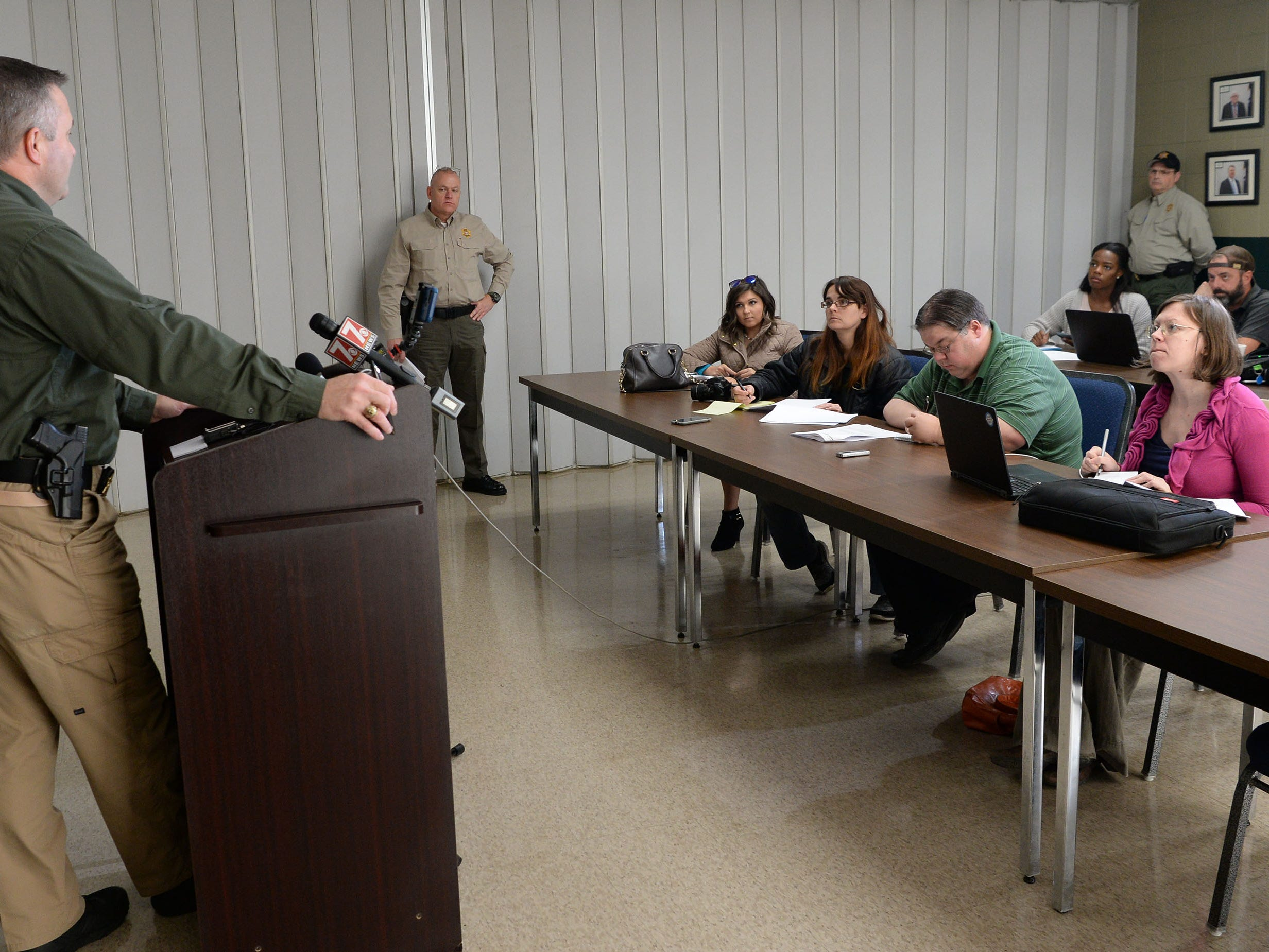 Pickens County Sheriff Rick Clark speaks to media about two inmates who escaped from the Pickens County Detention Center early Tuesday morning.