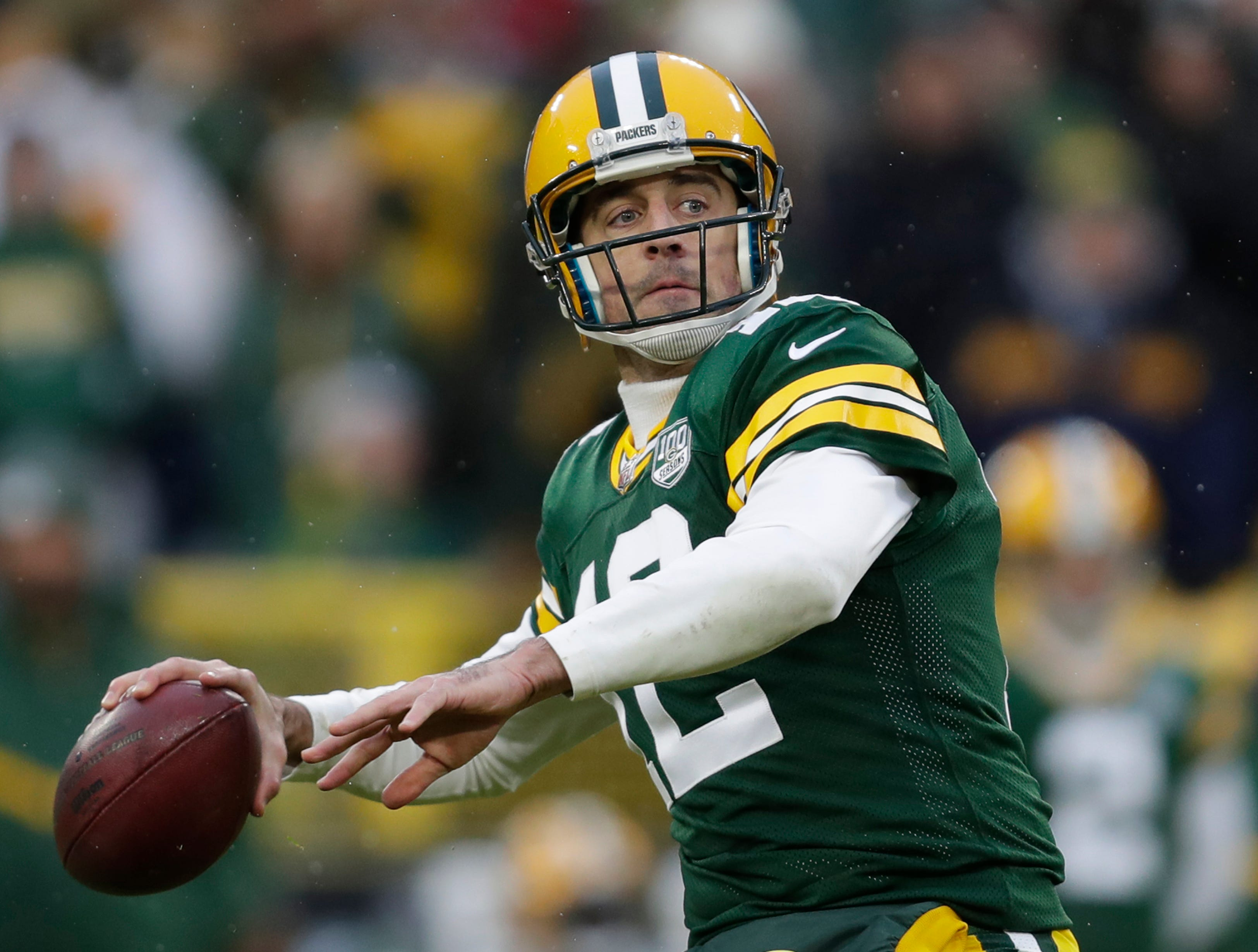 Green Bay Packers quarterback Aaron Rodgers (12) throws an incomplete long pass attempt late in the fourth quarter against the Arizona Cardinals Sunday, December 2, 2018, at Lambeau Field in Green Bay, Wis. 
