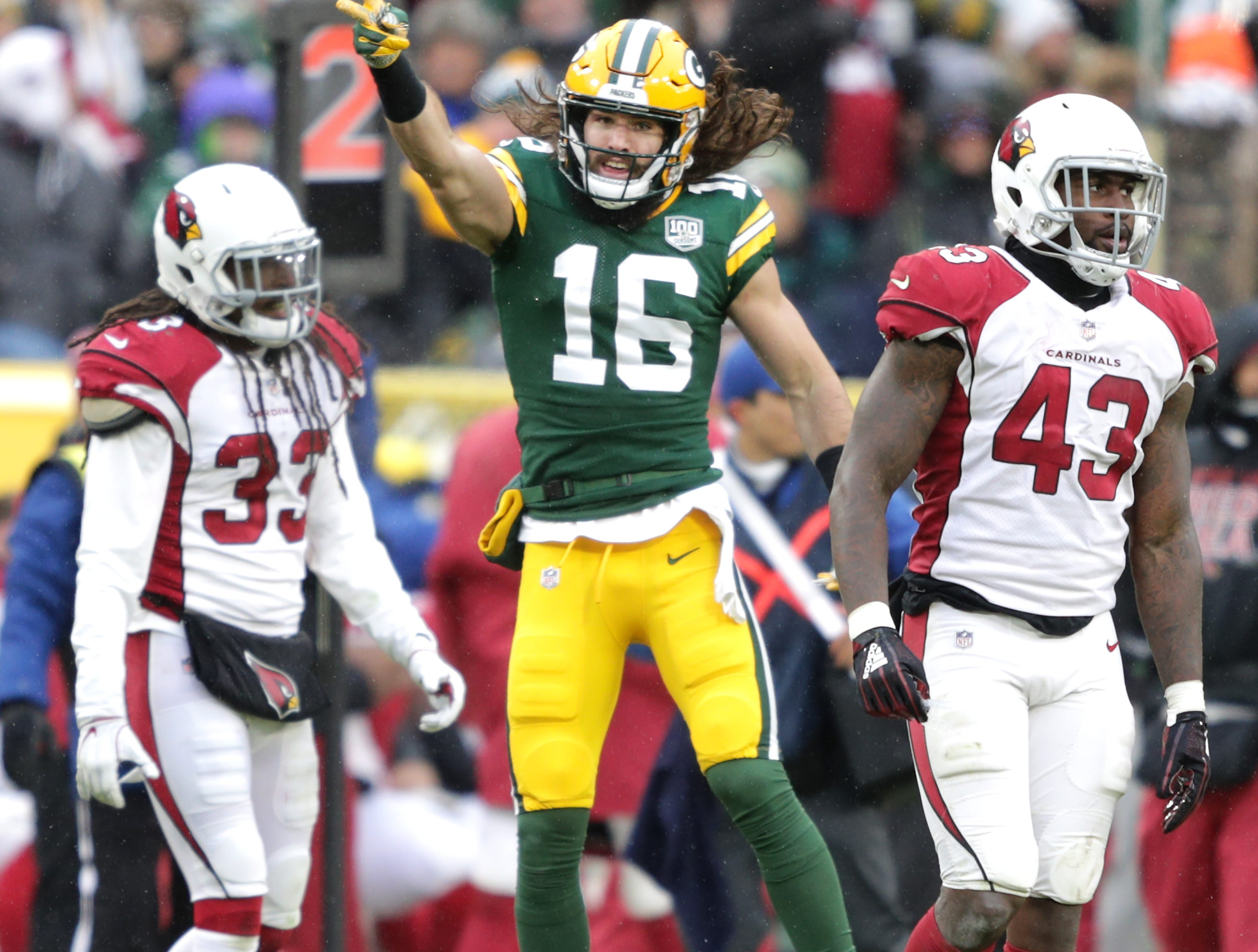 Green Bay Packers wide receiver Jake Kumerow against the Arizona Cardinals during their football game on Sunday, December 2, 2018, at Lambeau Field in Green Bay, Wis.