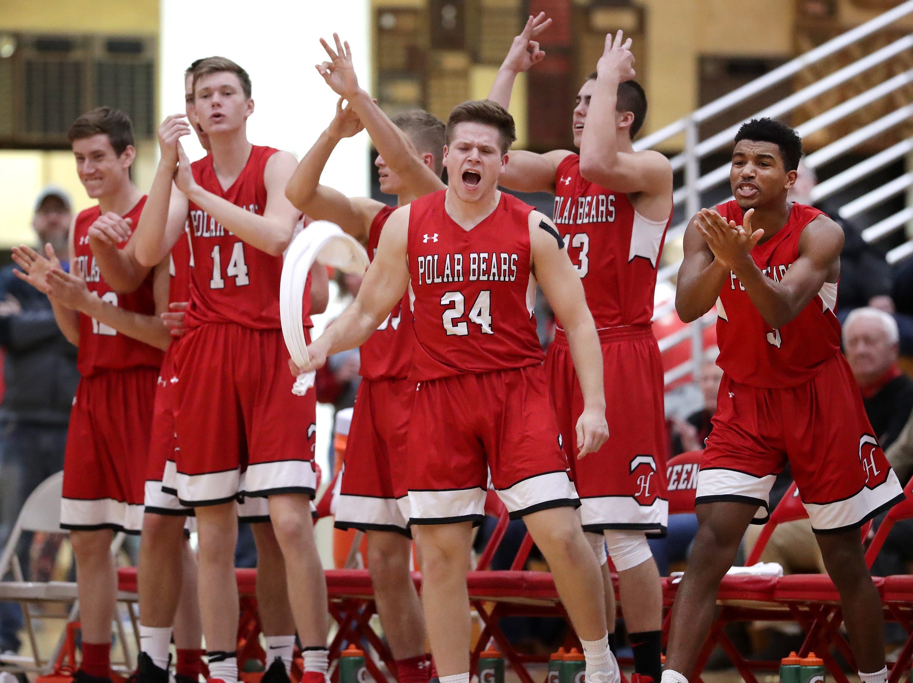 Neenah High School against Hortonville High School during their Fox Valley Association boys basketball game on Friday, November 30, 2018, in Neenah, Wis. Neenah defeated Hortonville 71 to 67 in overtime.