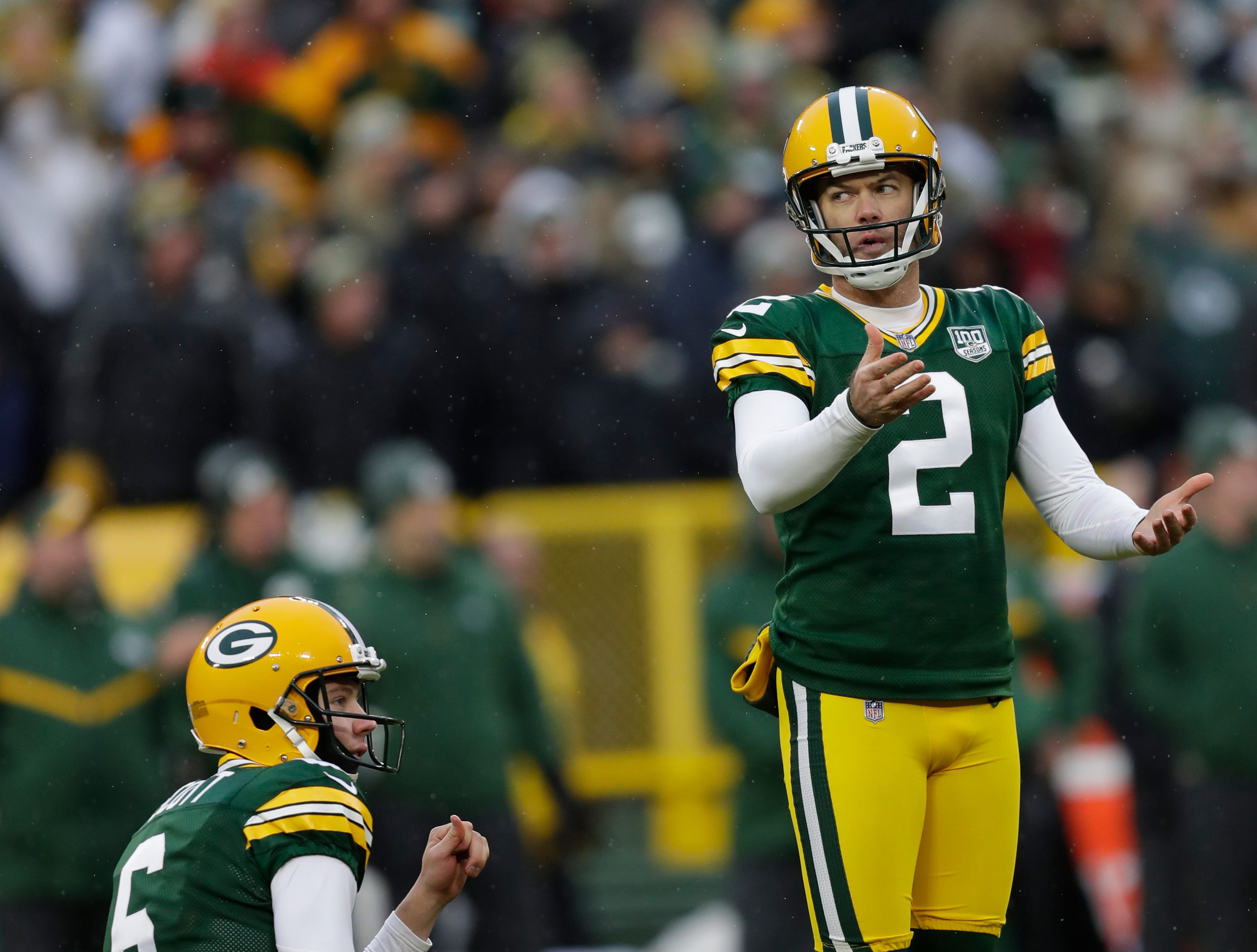 Green Bay Packers kicker Mason Crosby (2) and Green Bay Packers punter J.K. Scott (6) react to a misssing the potential game-tying fieldgoal as time expires against the Arizona Cardinals Sunday, December 2, 2018, at Lambeau Field in Green Bay, Wis. 