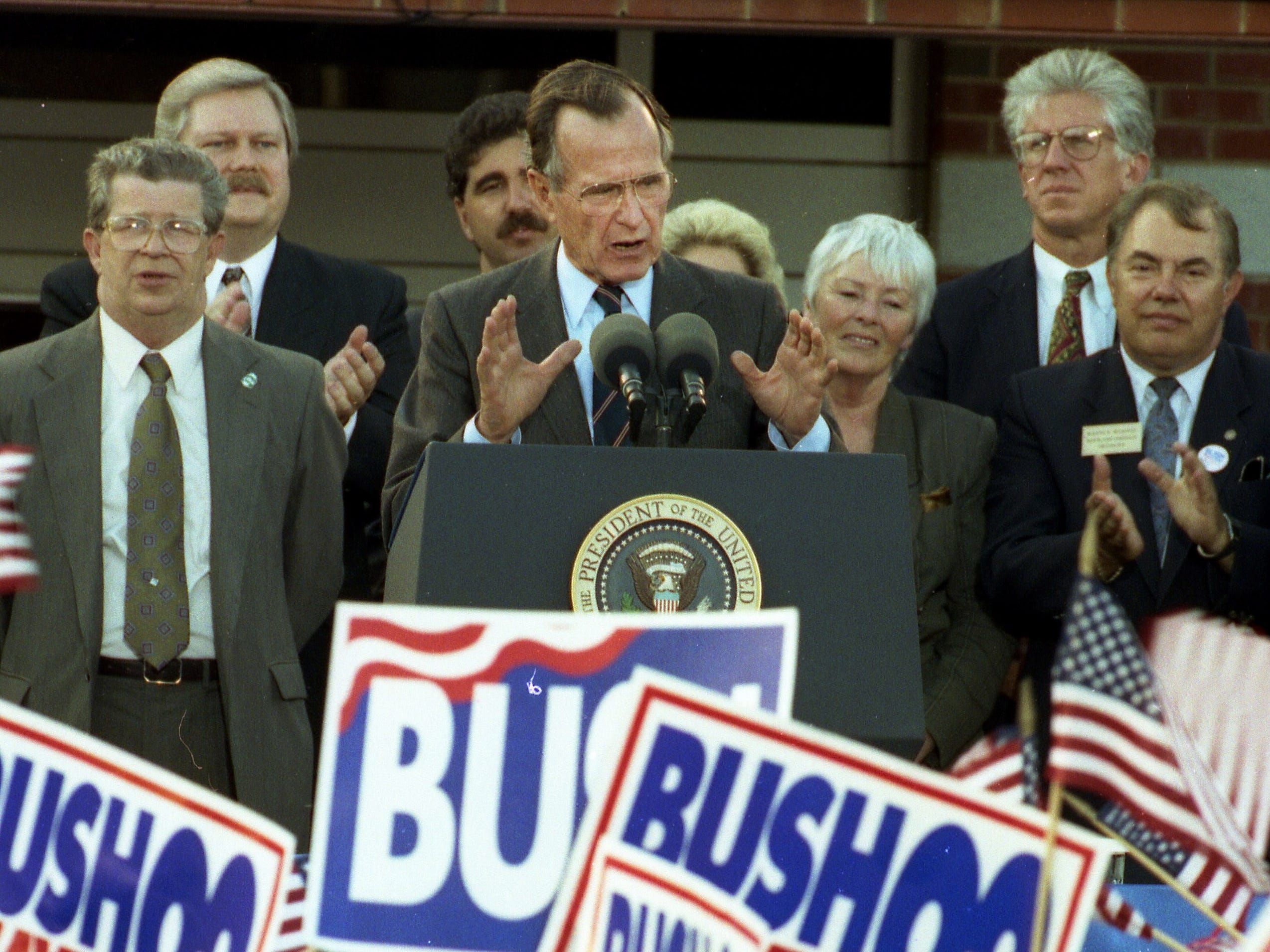 President George HW Bush speaks druing a campaign rally at Middlesex County College in Edison, NJ, on October 16, 1992.