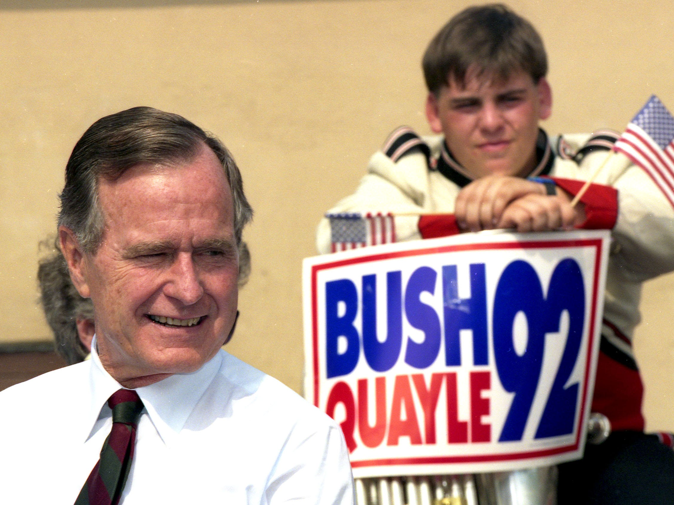 President George Bush is shown during an appearance at the V.F.W. Post 2179 in Middletown, NJ, on September 9, 1992.