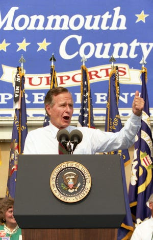 President George Bush speaks during a campaign stop at the V.F.W. Post 2179 in Middletown, NJ, on September 9, 1992.