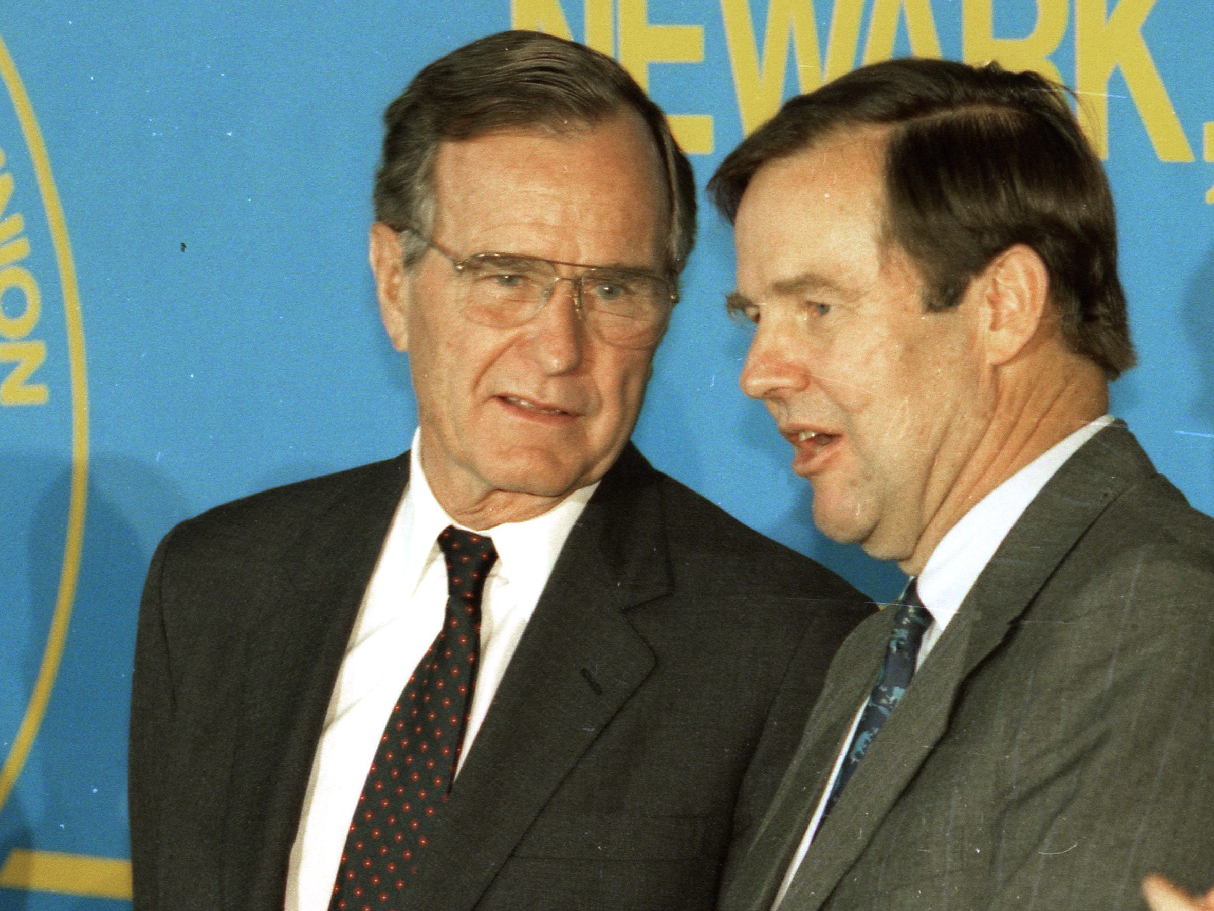President George HW Bush speaks with NJ Governor Tom Kean at the Laborers Union Local 472 of the Heavy and General Construction Workers in Newark, NJ, on September 30 1992.